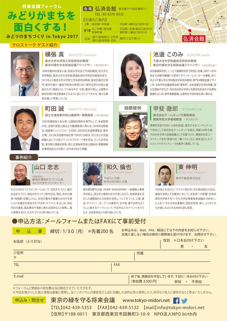 2017年2月5日将来会議フォーラム『みどりがまちを面白くする』みどりのまちづくりin Tokyo 2017