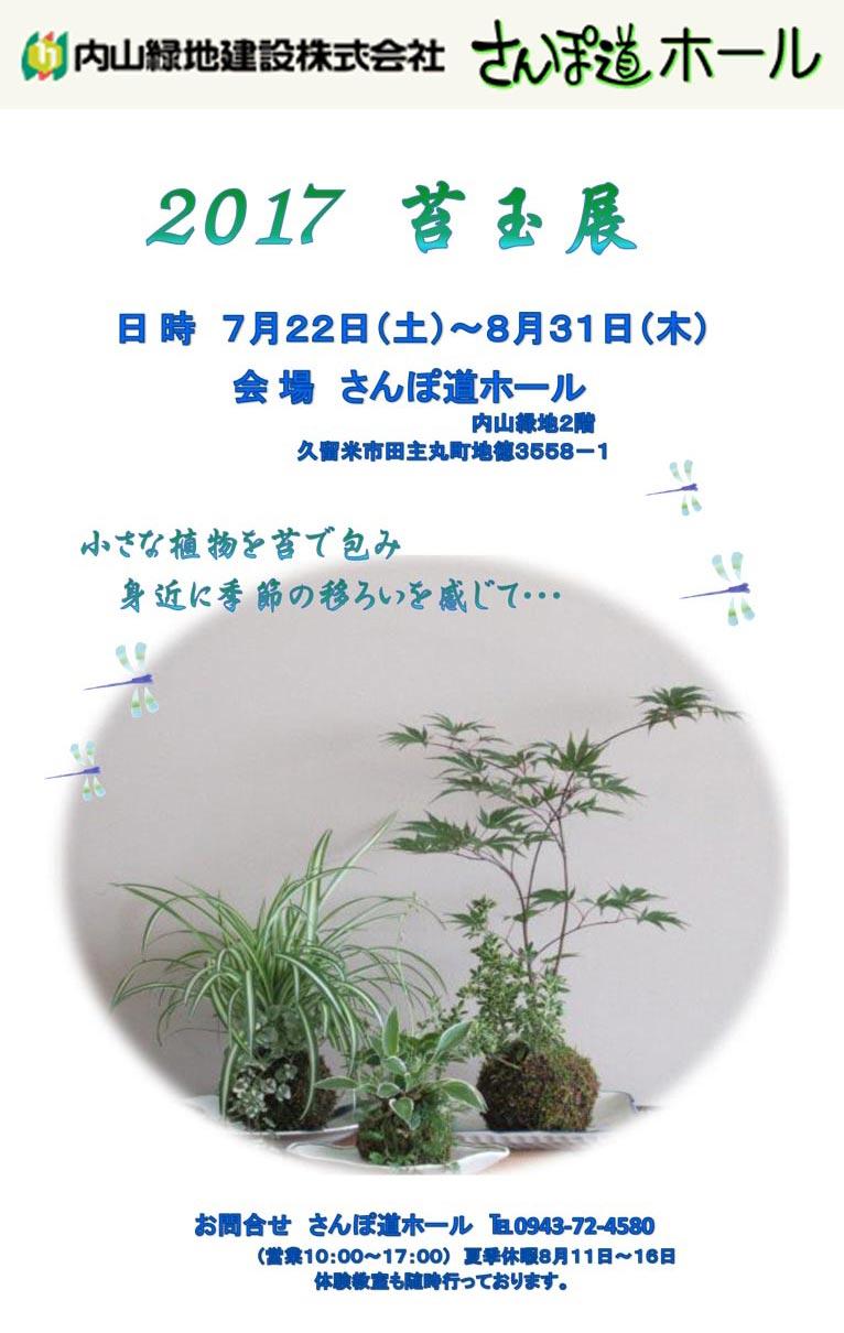 2017年7月22日 苔玉展 さんぽ道ホール 内山緑地建設株式会社