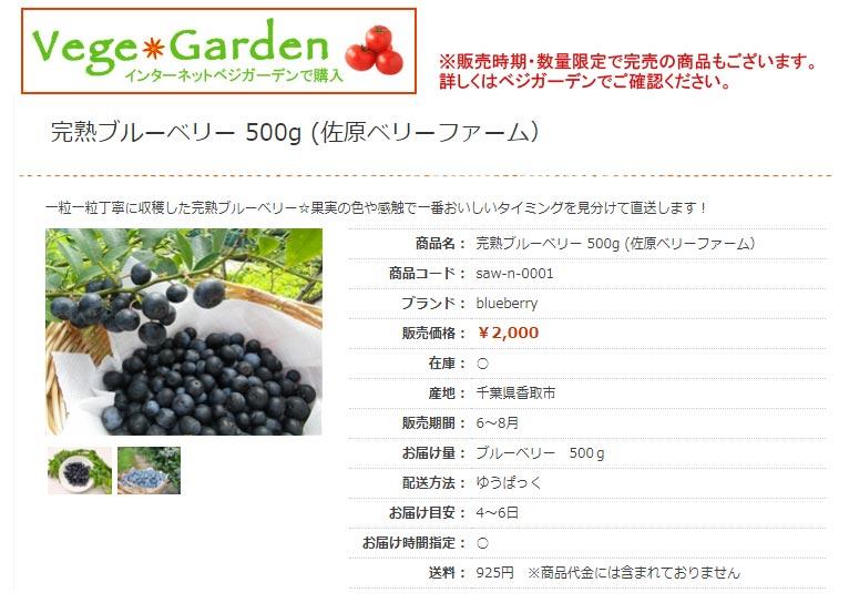 夏の贈り物 完熟ブルーベリー ベジガーデン Vege Garden 朝日工業(株)