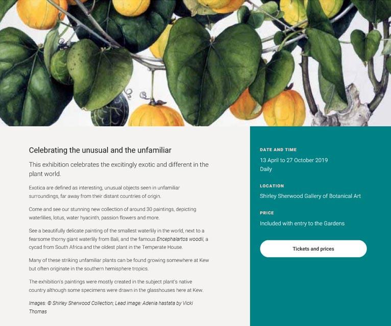 2019年4月13日~10月27日Exotica - paintings of plants from distant landsシャーリー・シャーウッド・ギャラリー Kew植物園