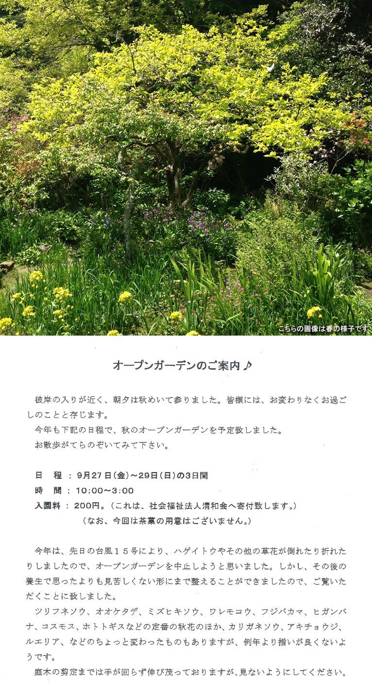 2019年9月27~29日オープンガーデンのお知らせ鎌倉 吉村邸