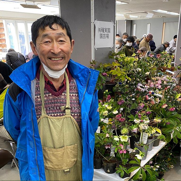 2020年3月6~8日 第27回 山草フェアー上野グリーンクラブ(東京) JGN創立メンバーの川原田邦彦さん。写真撮影のときだけマスクを外して素敵な笑顔。