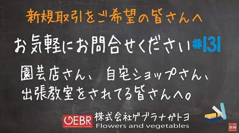 株式会社ゲブラナガトヨ【花を取り扱う皆さんへ】新規取引について