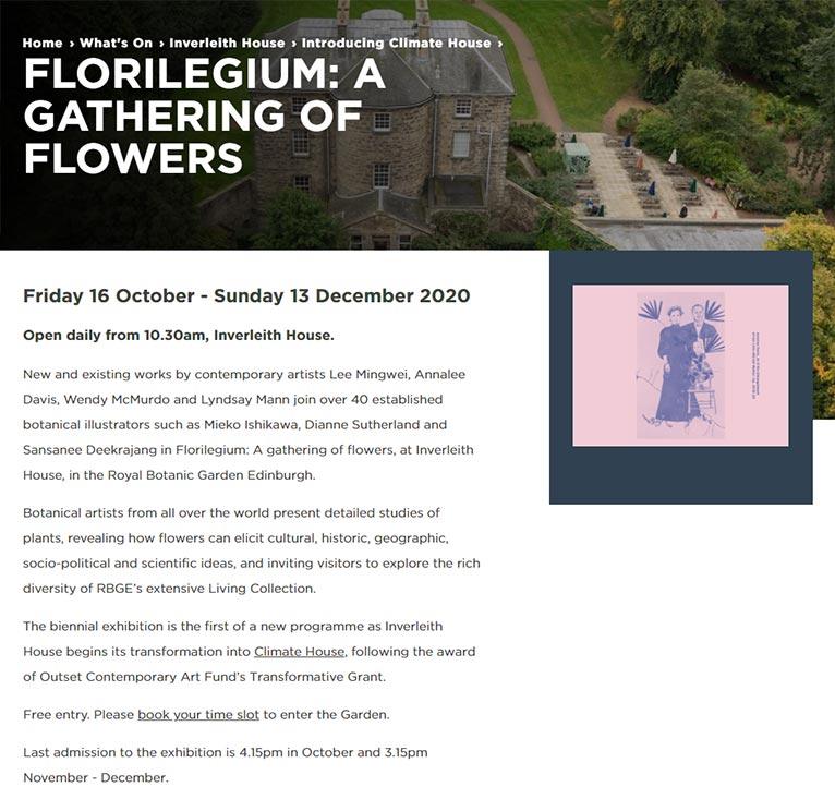 2020年10月16日~12月13日 Florilegium: a gathering of flowers Royal Botanic Garden Edinburgh