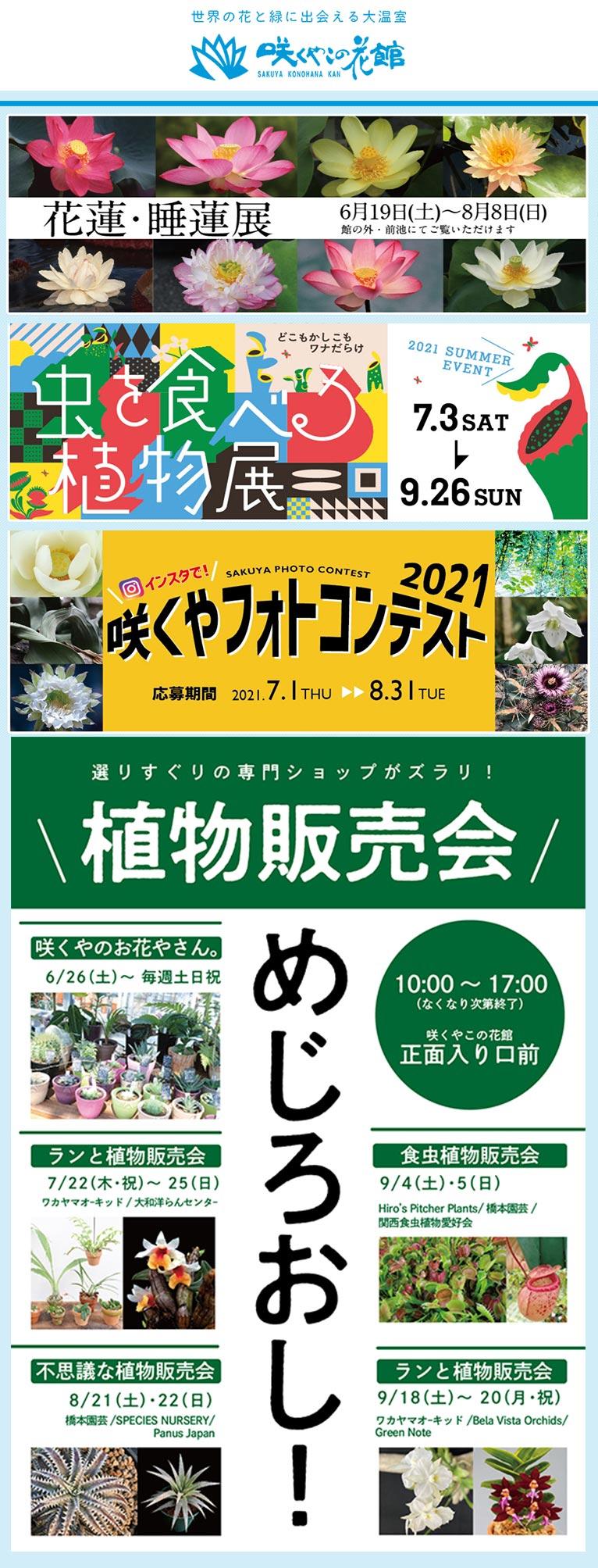 2021年咲くやこの花館夏のイベント 6月19日~8月8日『花蓮・睡蓮展』 6月26日~9/18日の土日祝『めじろおし!植物販売会』 7月1日~8月31日『咲くやフォトコンテスト2021作品募集』 7月3日~9月26日『虫を食べる植物展』